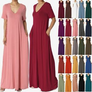02180c1e8e946 TheMogan S~3X Casual V-Neck Short Sleeve Pocket Maxi Dress W Comfy ...