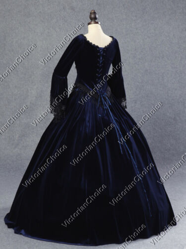 Victorian Marie Antoinette Velvet Dress Steampunk Gown Theater NAVY BLUE 153