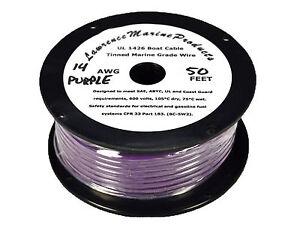14 Gauge Tinned Marine Primary Wire / Purple / 50 Foot Reel