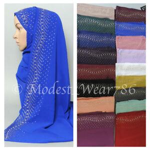 High-Quality-Chiffon-Hijab-Shayla-Scarf-Muslim-Headcover-Rhinestones-20-Colors