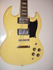 Glen Burton SG Style Electric Guitar Ge56 Vintage Blonde With Black 6 String