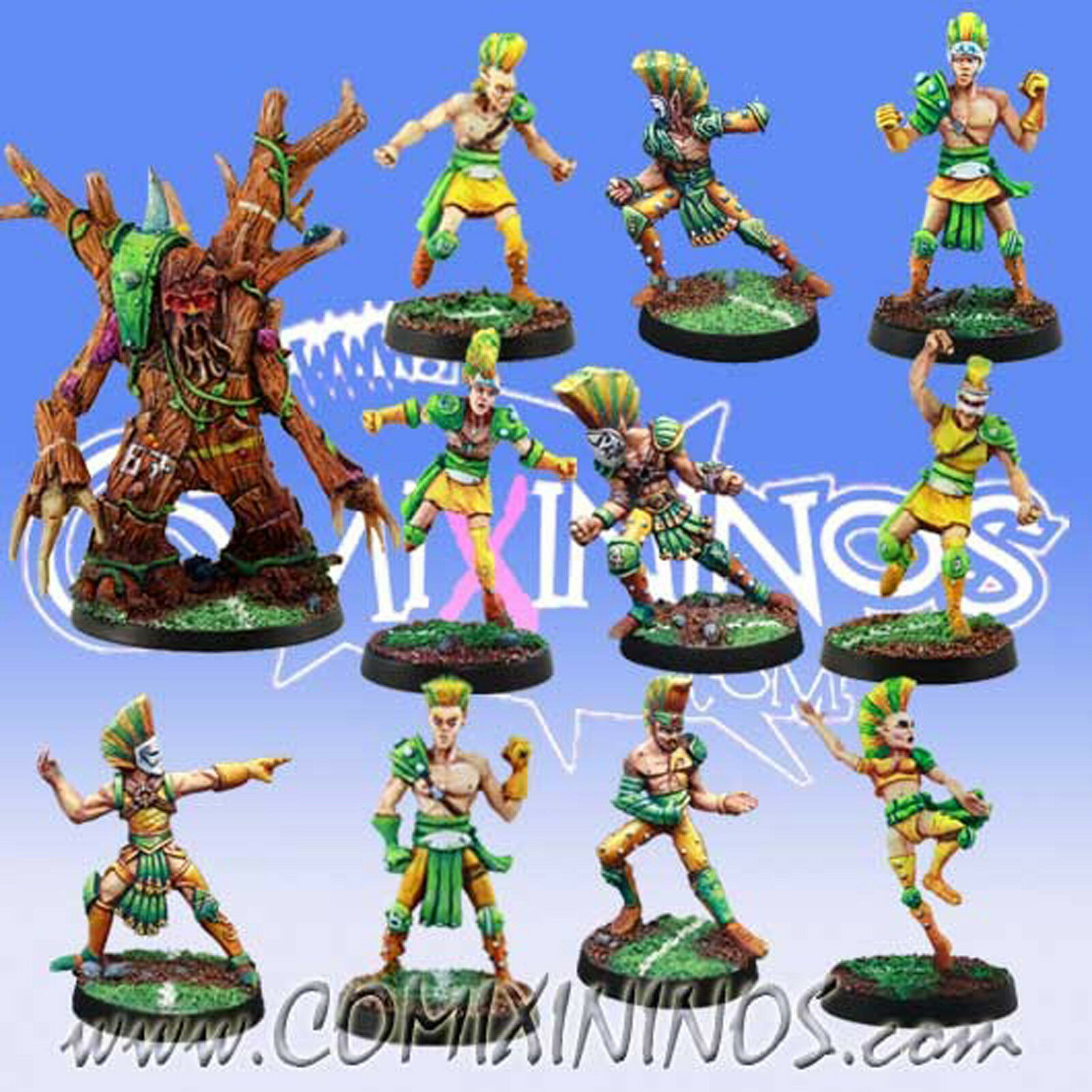 Fantasy Football - WOOD ELF TEAM 11 Players with TREEMAN for Blood Bowl - Meiko
