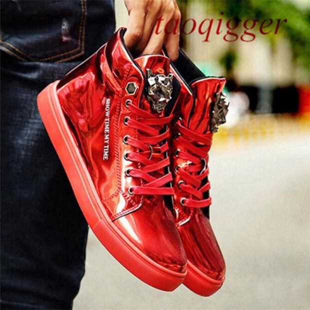 ny Punk Vogue herr Patent Patent Patent läder High Sneeaker Lace Up Round Toe skor W140  billigt och mode