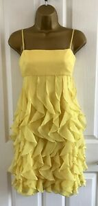 Nine-West-Party-Dress-Size-2-UK-8-Yellow-Layered-Pleating-Ruffles-Strappy