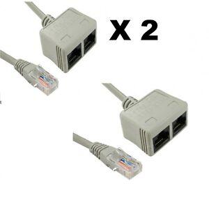 2-X-Cat5e-RJ45-UTP-Network-Cable-Lead-ECONOMISER-Ethernet-DATA-Splitter-shielded