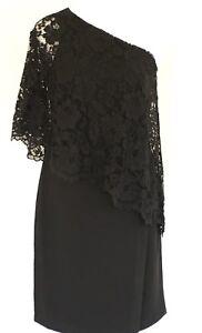 Nanette-Lapore-Black-Sheath-Dress-One-Shoulder-Lace-Overlay-Women-Size-4-NWT