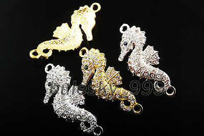 10Charms Crystal Rhinestone Curved Seahorse Connectors Bracelet Findings 47x20mm