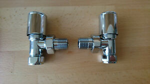KARTELL ROUND STRAIGHT CHROME VALVES 15mm TOWEL RAIL VALVES,ANGLED PAIR