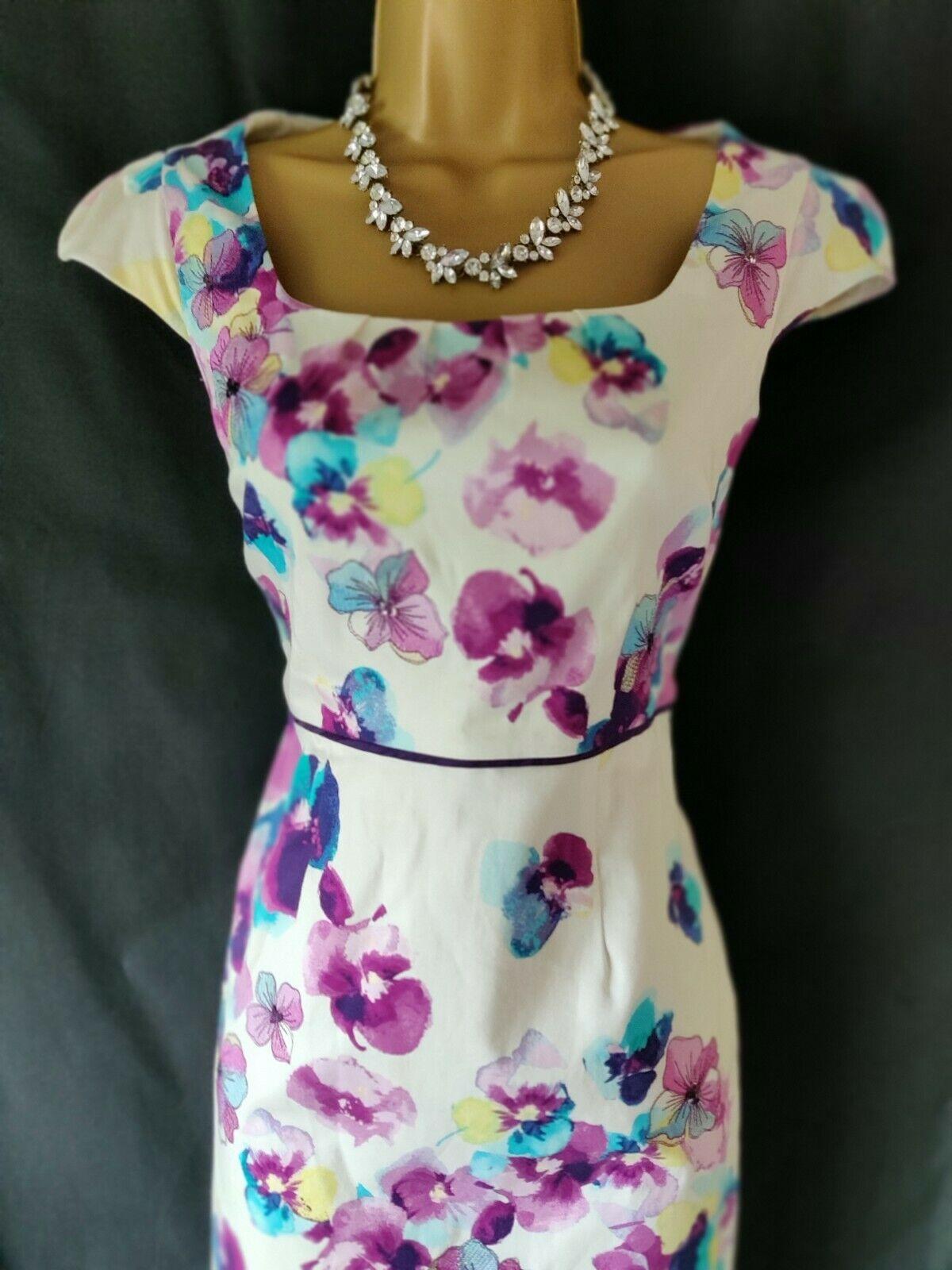Ladies/Women's Monsoon Ivory, Pink, Blue & Purple Floral Dress Size 10