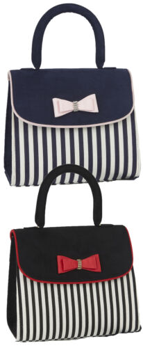 Ruby Shoo Top Handle Banjul Bag Black Navy Stripe Matches Lizzie