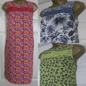 NEW Ladies Next Shift Dress Summer Beach Tunic Linen Blend Blue Red Pink 6-26