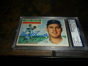 1956 Topps SIGNED #117 VIRGIL TRUCKS PSA/DNA Authenticated DETROIT TIGERS D.2013