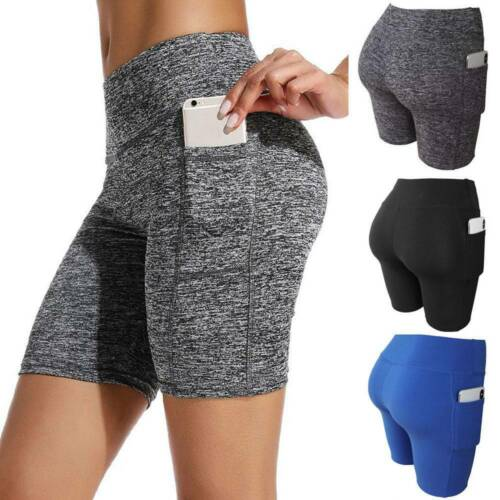 UK Womens High Waist Yoga Pocket Leggings Running Exercise Fitness Gym Shorts