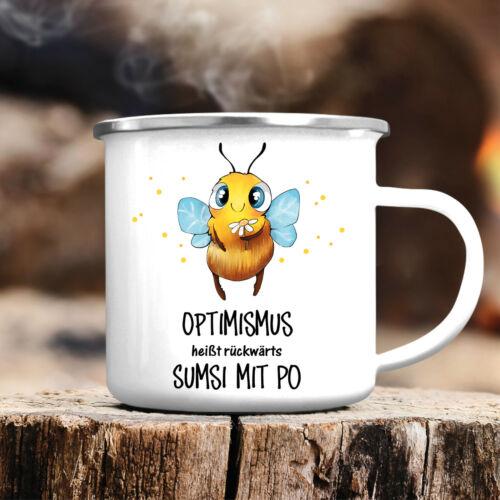"""Campingbecher /""""Biene Optimismus/"""" CB452 Sumsi Geschenk Tier Spruch lustig"""