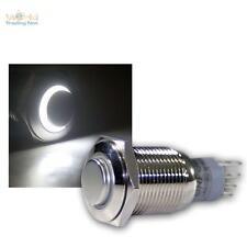 Druckschalter Metall, max. 230V/3A, Schalter mit LED Beleuchtung-Ring Weiß