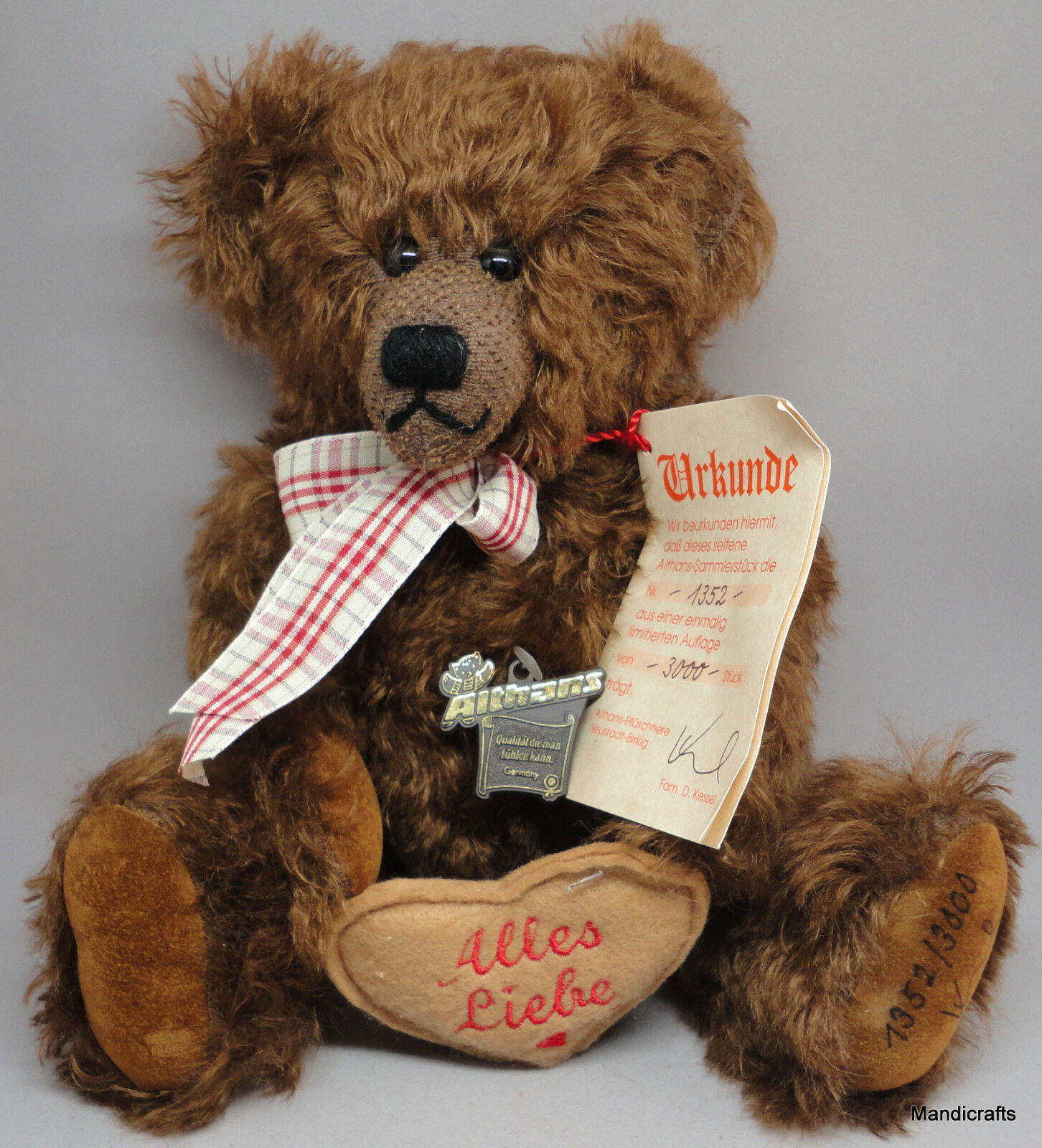 Althans Teddy Bear Mohair Plush LE 1352/3000 Heart Growler 12in Tag Cert Germany
