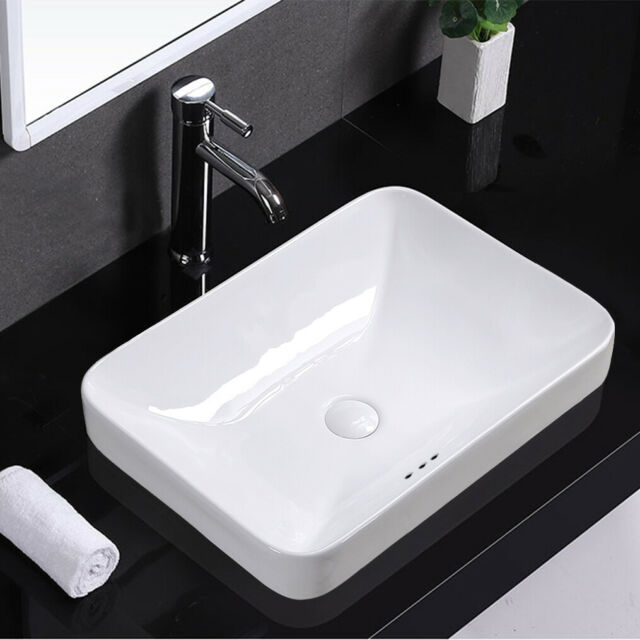 Rectangular Vessel Sink Set In White Id