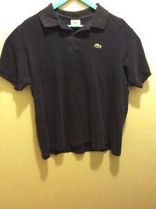 Lacoste-Mens-Size-6-Navy-Blue-Short-Sleeve-Casual-Polo-Shirt-Alligator-Logo