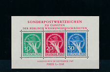 Berlin Währungsgeschädigte 1949** Block 1 Plattenfehler Attest (S11705)