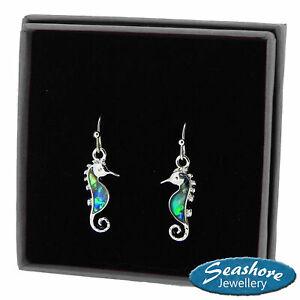 Seahorse-Earrings-Paua-Abalone-Shell-Womens-Silver-Fashion-Jewellery-23mm-Drop