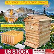 7pcs Free Moving Honey Hive Beehive Frames Beekeeping Wooden Bee Hives Box Us