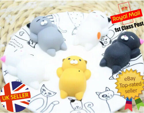 3pcs Squishy Cat Toy stress reliever UK venditore KAWAII 1st CLASSE OFFERTA SPECIALE