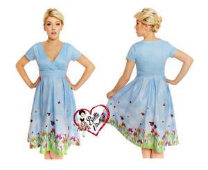 Lindybop-Darcy-azul-iris-Mariposa-Retro-Rockabilly-50s-De-mujer-Floral-Vestido-de-swing