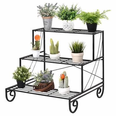 3 Tier Outdoor Metal Plant Stand Flower Planter Garden Display Holder Rack  Shelf 700161287356 | eBay