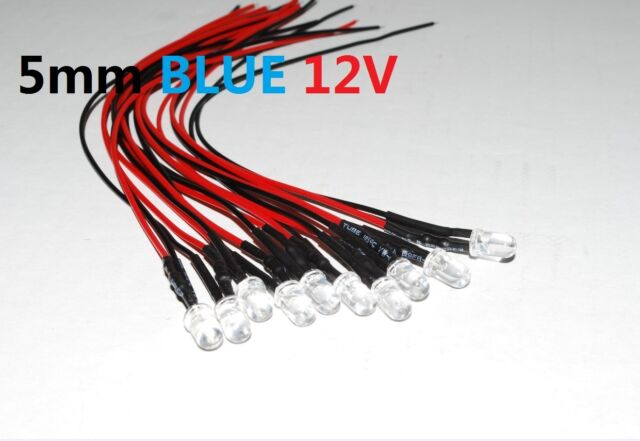 10pcs Pre wired 5mm Blue Waterclear SuperBright Leds Light Lamp 12v USA