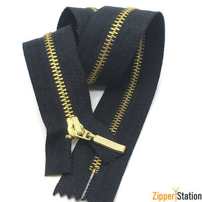 Brass Closed end #3 Zippers Black zip with gold brass teeth 18cms to 10cms