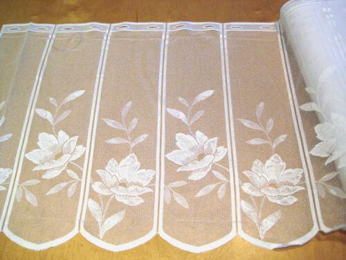 1,35 m oder mehr Scheibengardine 59 cm hoch weiß Blume Küche Bad Camping NEU