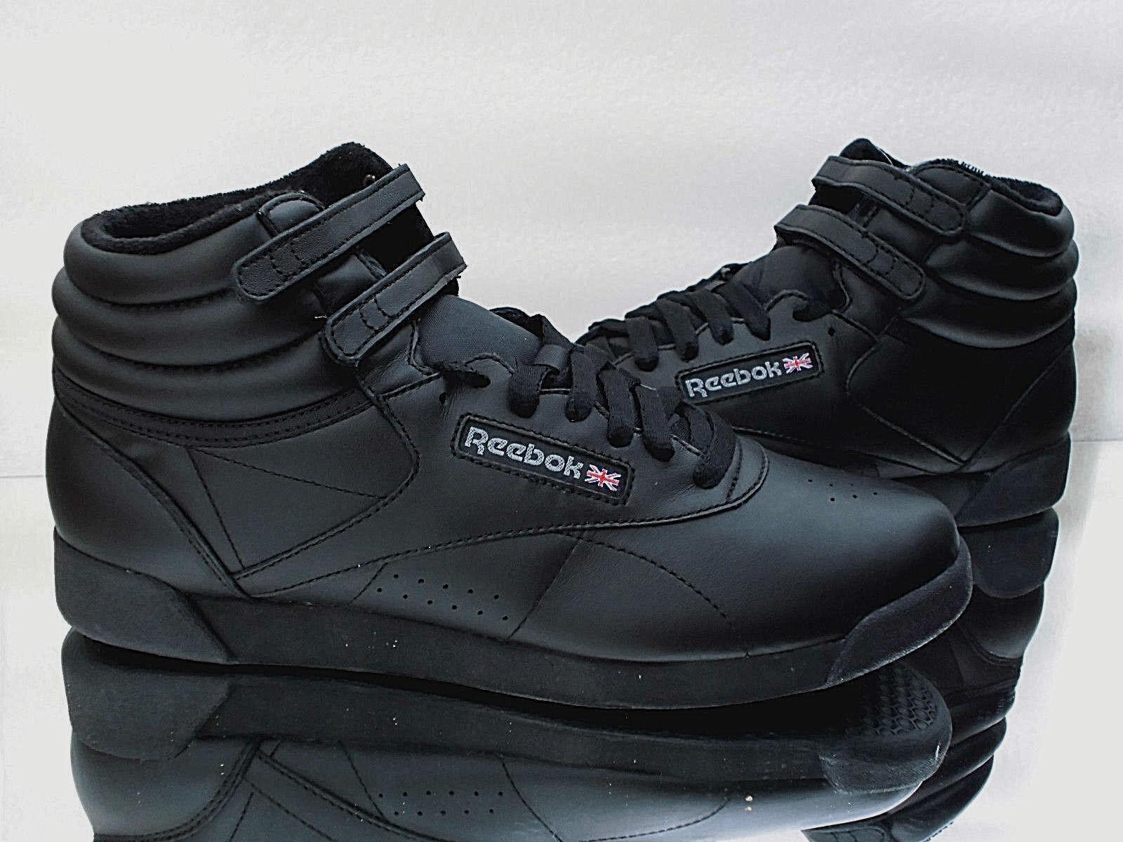 Los zapatos más populares para hombres y mujeres Reebok señora botas Freestyle Hi Black cuero zapatos casual zapatillas 2240 nuevo