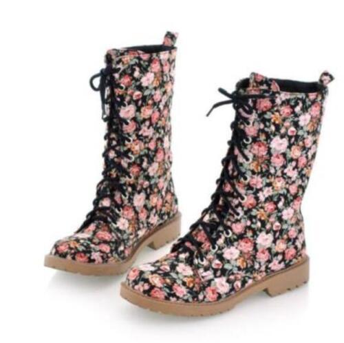 Womens Sz35-43  Floral Pattern Mid Calf Boots Oxford Fashion Flat Heel Shoe