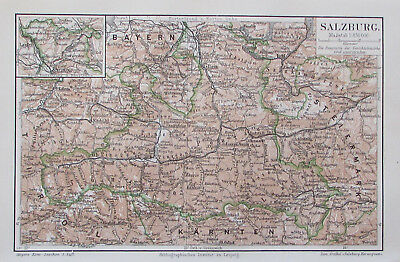 1897 Salzburg Österreich - Lithografie alte Landkarte old map