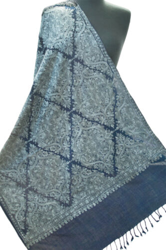 """Navy Blue Wool Shawl  Pashmina Embroidered in Silver Blue. Aqua Wrap  76""""x27"""""""