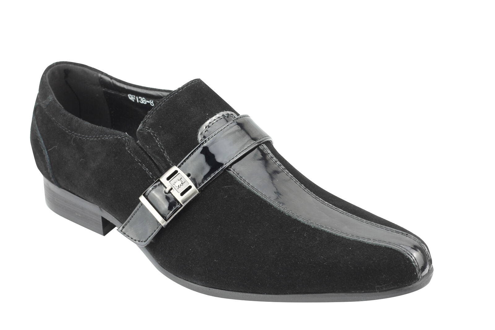 Mens Real Suede & Patent Leather Black Loafer Retro Intalian Style Slip on shoes
