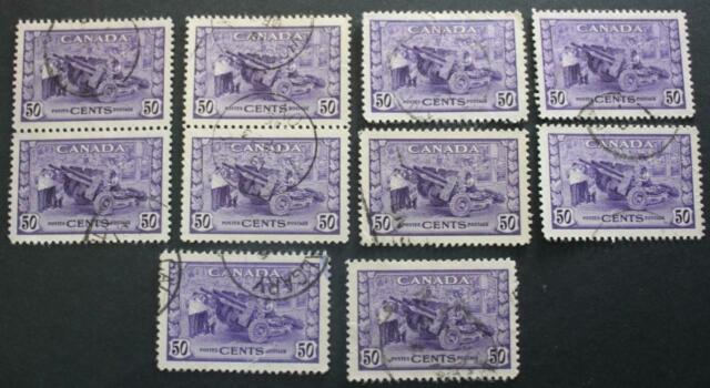 Canada #261 Used Lot Of 10, Munitions Factory, 1942-43, No Tears Or Thins