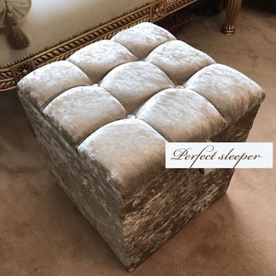 Dressing Table Stool Box Storage In Champagne Crushed Velvet Brand New Uk Kids & Teens At Home Professional Sale New