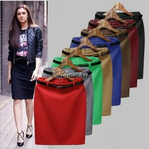 Women-Slim-Fitted-Knee-Length-Straight-Pencil-Midi-Skirt-High-Waist-Career-BF9