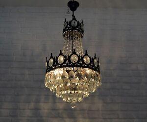 Antique Vintage Brass Crystals French Chandelier Lighting Ceiling Lamp Light Ebay