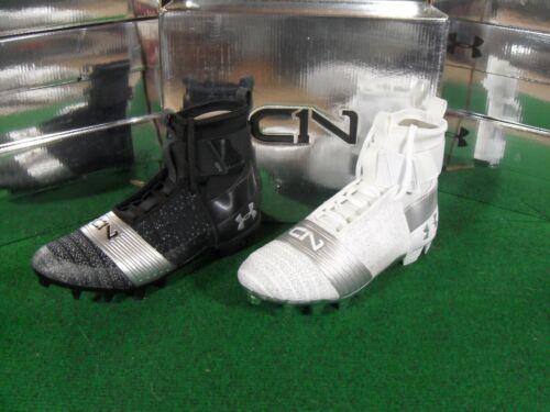 New UA Under Armour C1N Cam Newton MC Football Cleats Black Silver White Chrome