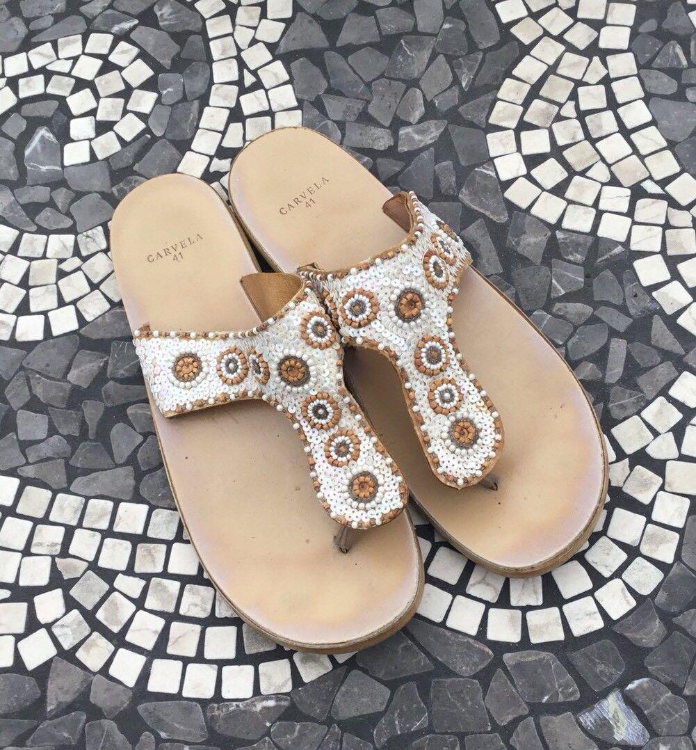 Carvela 41 Sandals 41 Carvela 8 Beaded Beige Brown c06982