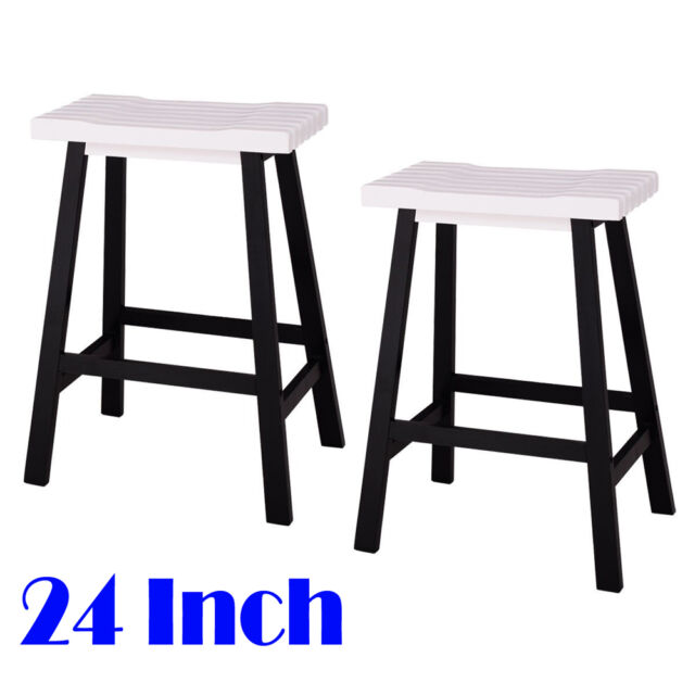 Set Of 2 Bar Stools Kitchen Counter Dining Saddle Seat Wood Pub Chair 24 Inch