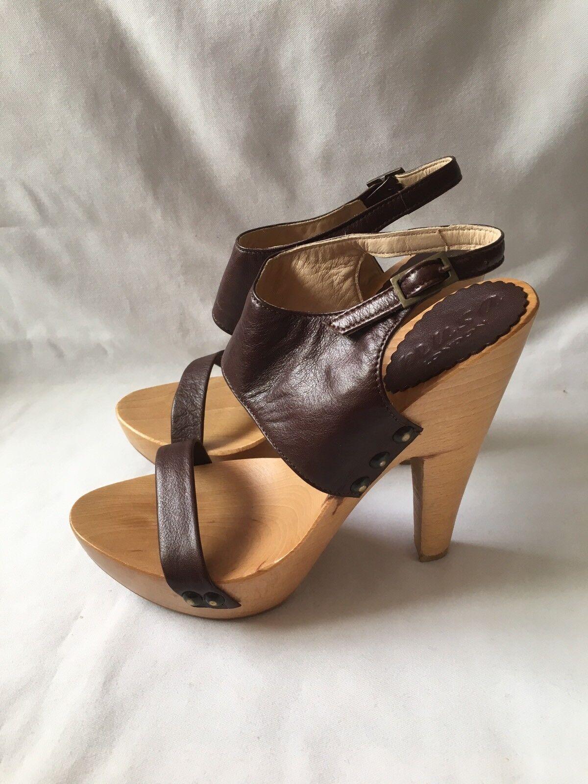 New Musa London ladies wooden platform sandals & braun Leather Größe UK6(39) Box