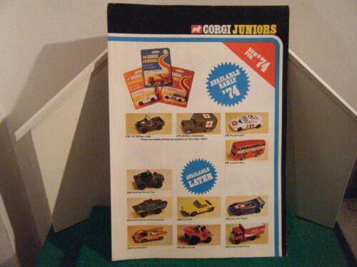 """Edition Corgi Juniors catálogo /"""" 1974-U.s.a 4 páginas/"""" escaso"""