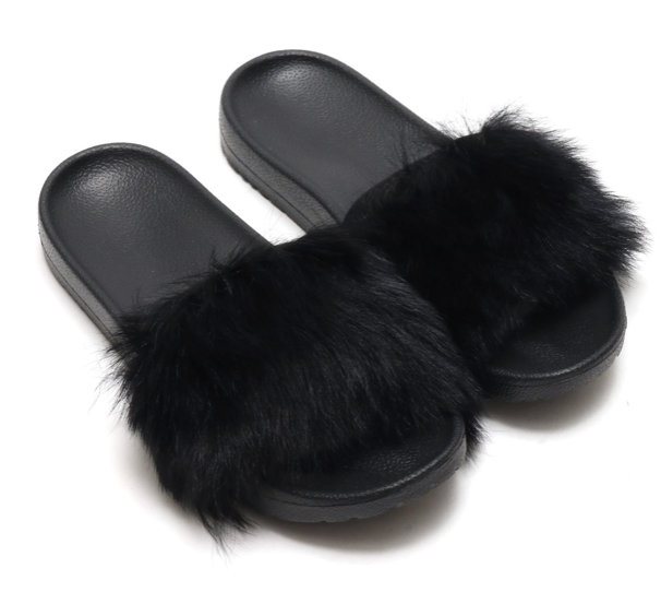 cd7b38c1a UGG Australia Womens Sz 9 Royale Fur Slide Sandals Slippers Black ...