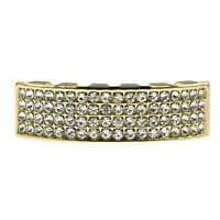 14k Gold Plated Four Row Grillz Iced-out Bling Teeth 4 Rows Bottom Lower Grills