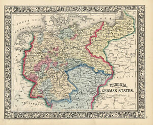 1860-amp-1867-S-A-Mitchell-maps-034-Prussia-amp-The-German-States-034-TWO-Maps