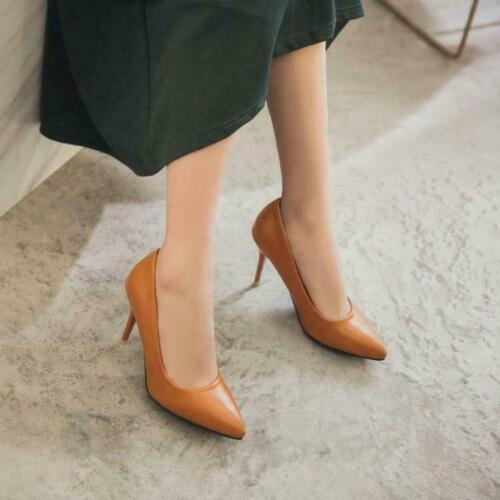 Hd214 Womens Formal Business Pointed Toe Shoes High Stiletto Heel Plus Size Pump