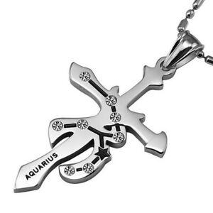 SALE-Herren-Sternzeichen-Kreuz-Cross-Anhaenger-aus-Edelstahl-inkl-2-Halsketten